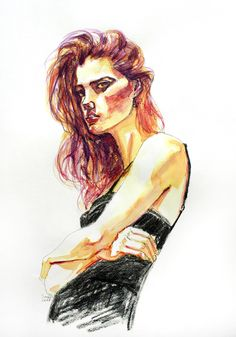Original A3 Fashion Watercoulor Pencil Illustration - Girl in a Black Dress £45.00