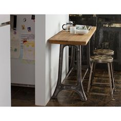 @Overstock - This furniture set was made from solid reclaimed teak that was used in bridges, construction, and homes. Including a console table and two dining stools, this furniture comes in a natural finish.   http://www.overstock.com/Worldstock-Fair-Trade/Reclaimed-Teak-and-Metal-Console-and-Tufted-Metal-Stools-Set-India/5980929/product.html?CID=214117 $694.99