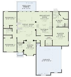 his lovely European style home with Traditional expressions (Plan #153-1780) has 1600 square feet of living space. The inviting 1-story home's floor plan includes 3 bedrooms. #houseplan #bedrooms