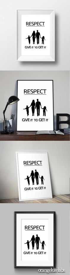 respect quote poster, #wall_art_decor #room_decor #Black_and_white_art #printable_quote #digital_print #respect_quote Decor Room, Wall Art Decor, Nursery Decor, Give It To Me, How To Get, Digital Print, 4 Kids, White Art, Poster Wall