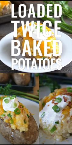 Loaded Twice Baked Potatoes are an easy and delicious side dish recipe loaded with cheese, bacon and sour cream then baked again. Baked Potato With Cheese, Baked Potato Recipes, Baked Chicken Recipes, Easy Twice Baked Potatoes, Cooking Baked Potatoes, Leftover Baked Potatoes, Sour Cream Potatoes, My Favorite Food, Favorite Recipes