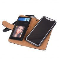 Peňaženka a magnetický obal na iPhone X z kože v čiernej farbe. Púzdro je vyrobené z kože. Púzdro poskytuje dokonalé zapadnutie iPhonu X (1) Apple Iphone, Mobiles, Apple Watch, Smart Watch, Charger, Electronics, Pocket Wallet, Suitcase, Company Logo