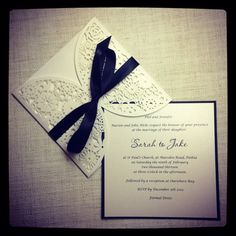 Floral Paper Lace Black and White Wedding Invitation - Laser Cut invitation…