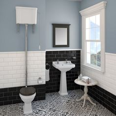 Our Carlton high level bathroom suite is truly stunning. The period-influenced design is perfect if you want an authentic traditional look. http://www.victorianplumbing.co.uk/carlton-high-level-bathroom-suite-high-level-toilet-with-2th-basin-and-full-pedestal.aspx?utm_source=Pinterest&utm_medium=Traditional%20Bathrooms&utm_campaign=Carlton%20High%20Level%20Bathroom%20Suite