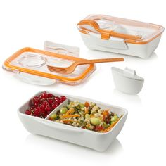 Modular Bento Box System: The indent in the top can be used to sauces and things.