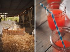 Barn wedding with mason jar signature drinks