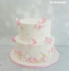 ideas birthday cake girls kids flowers Birthday - All Things Birthday Ideen Geburtstagstorte Birthday Cakes Girls Kids, Butterfly Birthday Cakes, Baby Birthday Cakes, Butterfly Cakes, Cake With Butterflies, Birthday Cake With Flowers, Christening Cake Girls, Gateau Baby Shower, Girl Baby Shower Cakes