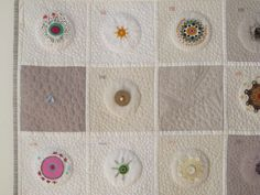 """Cecilia Koppmann """" Rayos y Centellas"""". Quilt made during the 37 sesions of radiotherapy for breast cancer. One block a day. 2012"""