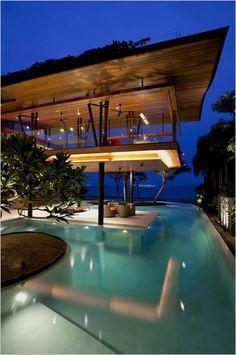 Sentosa Cove, Singapore by Guz Architects - What a backyard! #landscapelighting