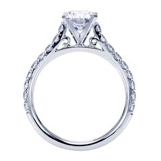 14k White Gold Refined Contemporary Style  Straight Gh/sl Engagement Ring  That Holds   Center Stone. | Gabriel