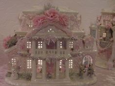 Shabby pink victorian lighted christmas village chic rose glitter house