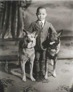 Little boy and his German Shepherds 1910ish