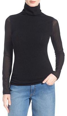 Olivia Palermo + Chelsea28 Silk Sleeve Turtleneck Sweater