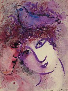 Deux visages à l'oiseau (1955) - Marc Chagall:
