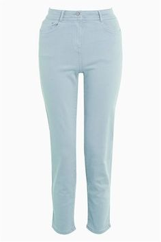 Pink Soft Touch Straight Crop Jeans
