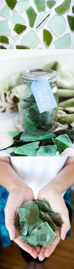 My beach adventures have inspired this sea glass candy idea. This edible treat will make a great gift for any party, especially a beach-themed party. How great would these sea glass candies be for wedding favors in tiny jars?