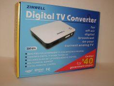 New Zinwell Digital to Analog TV Converter Box ZAT-970 wtih Remote  #Zinwell
