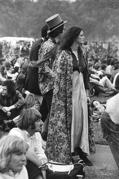 "Popular hippie styles for women included long ""maxi"" skirts, peasant blouses, bell-bottomed jeans, bright tie-dyes, and Eastern Indian, Native American and African influences in designs. For both men an women, sandals were popular footwear and long hair was common."