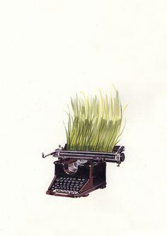 David de las Heras, typewriter with grass illustration