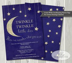 Twinkle Twinkle Little Star Baby Shower Invitation | Stars and Moon, Glitter, Gold, Navy Blue, Night Sky, Sparkle, Gender Reveal | Printable...