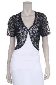 #167TN-Black Lace Bolero Jacket Short Sleeve Wedding Bolero Black Bridal (Size L to 3XL-5 Colors)