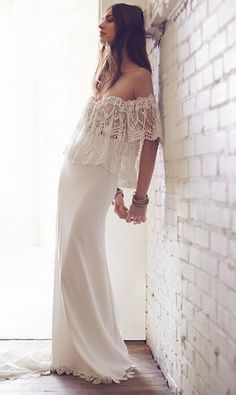 """Free People is introducing seven new wedding dresses as part of its """"City Bride"""" spring 2016 bridal collection. Fall Wedding Attire, 2016 Wedding Dresses, Bohemian Wedding Dresses, Boho Bride, Boho Dress, Bridal Dresses, Bohemian Weddings, Casual Wedding, Trendy Wedding"""