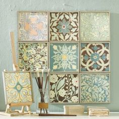 remove the glass from Dollar Store frames and paint. Then use modge podge or spray adhesive to adhere scrapbook paper for custom artwork - Diy Home Decor Dollar Store Simple Wall Art, Diy Wall Art, Home Crafts, Diy Home Decor, Diy Crafts, Thrifty Decor, Simple Crafts, Art Decor, Dollar Store Crafts