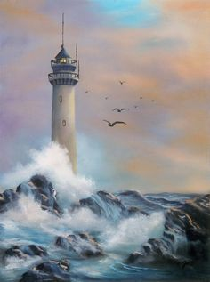 Lighthouse Painting  - Lighthouse Fine Art Print Lighthouse Painting, Watercolor Art, Lighthouses, Sea Storm, Akiane Kramarik, Seascape Paintings, Beach Art, Pictures To Paint, Fine Art Prints