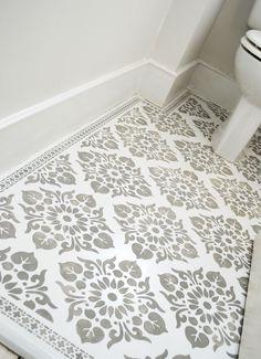 Floor stencilled with the Kota and Neemrana stencils.  nicolettetabram.co.uk  #stencils #nicolettetabramstencils #paintedfloors
