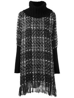 checked knitted tunic