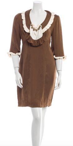 NWT! Mayle Brown Silk 'Valentine' Dress