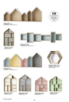 House Shaped Wall Shelves Shelving Wall Shelves Decorating Ideas Decorations - a》 Kinderzimmer - Diy Deco Rangement, Playhouse Interior, Room Deco, Wall Shelves Design, Kids Wall Shelves, Childrens Shelves, House Shelves, House Wall, Wooden Shelves