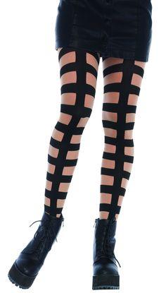 Beige//Black Pantyhose Stitch Zombie Dot Sewn Print Tights Halloween Goth Costume