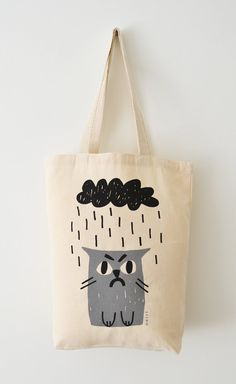 Cat Tote Bag, Hand Screen Printed Grumpy Cat Design in Light Grey & Charcoal, Sad Cat in Rain - Animal Products - Katzen / Cat