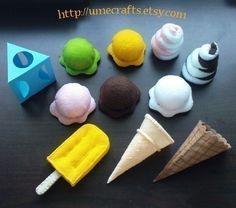 felt ice cream! How cute! I'm gonna have my (future) babe play with felt toys! So cute,natural n safe!