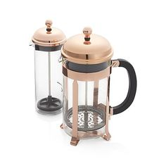 The signature dome-topped Bodum French press coffee maker takes on a beautiful copper-plated finish in this classic plunger-style brewing method revered for producing fresh coffee with rich, full-bodied character. Combining the skills of the local craftsman with modern production, French press became accessible became affordable to the legions of fans who love the taste of the coffee brewed in this unique coffee style.