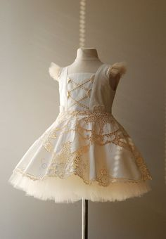 Flower Girl Dress Upcycled Cotton Table cloth Peasant by FoxnLily, $190.00