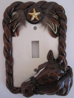 Western Horse Light Switch Cover,  with pheasant feathers, standard switch, brown