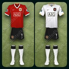 Man Utd home kit (with black shorts and white socks) and the away kit for 2006-07.