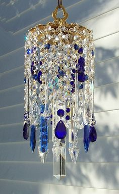 Your place to buy and sell all things handmade - Deepest Blues Vintage Crystal Wind Chime – Etsy shop sheriscrystals The Effective Pictures We Off - Crystal Wind Chimes, Glass Wind Chimes, Diy Wind Chimes, Diy Chandelier, Chandeliers, Handmade Chandelier, Hanging Crystals, Beaded Curtains, Home And Deco