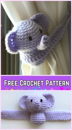 Crochet Elephant Plush Toy Amigurumi Free Patterns-Crochet Little Elephant Curtain Tie Back Free Pattern