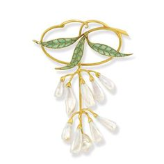 Art Nouveau Gold, Plique-a-Jour Enamel and Freshwater Pearl Brooch - Centering three flared leaves applied with green plique-a-jour enamel, accented with gold veins, outlined in gold, the stem continuing to an open modified oval, supporting drooping flowers fashioned as freshwater pearls, enhanced by gold caps and curved stems, circa 1900.