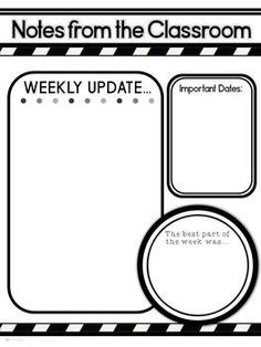 Weekly Newsletter Template Editable  Classroom Organization