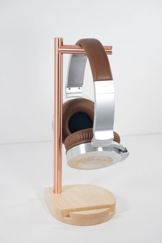Modern Headphone Stand - Solid Copper & Maple - Perch Headphone Stand