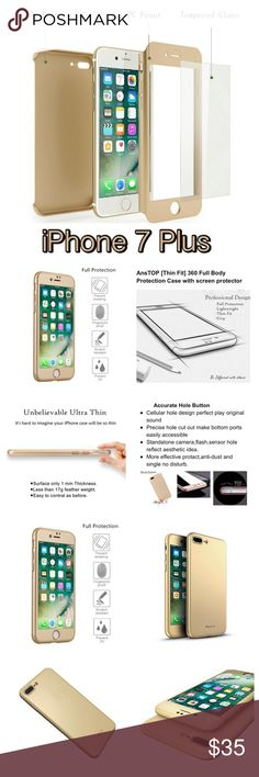 NWT Gold Full Body Surround iPhone 7 Plus Case NWT all in one gold iPhone surround case. Compare to OtterBox for complete coverage. Set includes front and back covers and a screen protector with a kit to install. Designed specifically for the iPhone 7 Plus with precision cut outs with ease of accessibility and installation in mind.  ✅ All offers thru Poshmark considered  🚫 No Trades or model or comment negotiations Apple Accessories Phone Cases