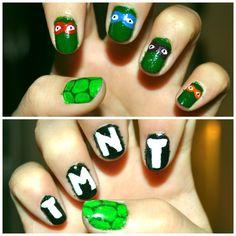teenage mutant ninja turtels TMNT nails polish diy creative art nice cartoon cool mask