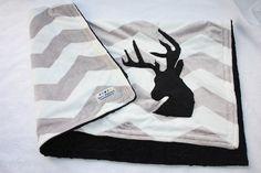 Chevron Minky Deer Blanket Toddler by BornPlatinum on Etsy, $48.00