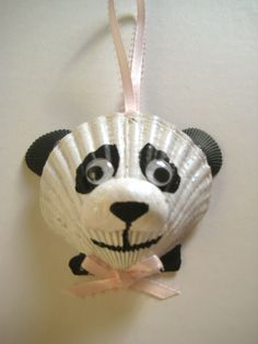 Panda bear ornament (One of my very first shell bear ornaments)