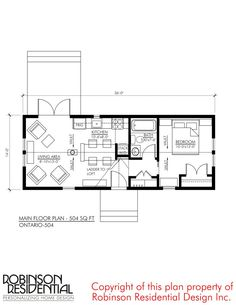 This is the 476 Sq. Ontario Tiny House Plan by Robinson Residential. Please enjoy, learn more, and re-share below. Related: Alberta A-Frame Small Home Design 476 Sq. Small House Floor Plans, Small Cottages, Small Houses, Small Cabins, House Blueprints, French Cottage, Cabin Plans, Tiny House On Wheels, House Layouts