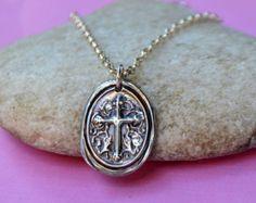 Fine Silver Cross Pendant Necklace - Cross Medallion - PMC Fine Silver